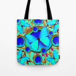 Royal Blue Eyes & Butterfly Dreams Abstract  Pattern Art Tote Bag