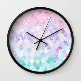 Cute Mermaid Pattern, Light Pink, Purple, Teal Wall Clock