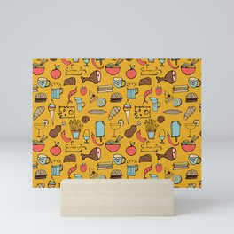 Food Frenzy yellow Mini Art Print