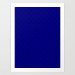 Black on Navy Blue Snowflakes Art Print
