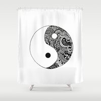 yin yang Shower Curtains featuring Yin Yang by Jackie Papers