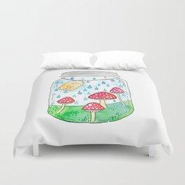 Mushrooms in Mason Jar Duvet Cover