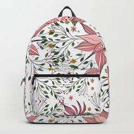Cute Vintage Pink Floral Doodles Tile Art Backpack