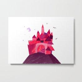 Sunset Village Illustration Metal Print
