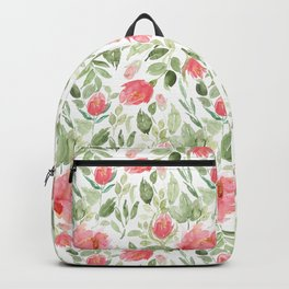 Painted Watercolour Garden Red Roses Backpack