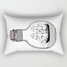 Ship in the Glass Bulb for Home Decor and Apparel Rectangular Pillow