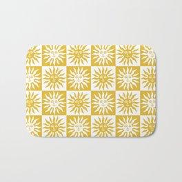 Mid Century Modern Sun Pattern Mustard Yellow Bath Mat