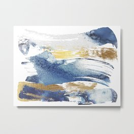 Wild Blue and Gold Wash Metal Print