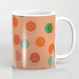 Smiley Face Stamp Print in Orange Coffee Mug