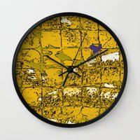yellow pattern Wall Clocks featuring Yellow by Avigur