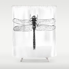 Vintage Dragonfly | Black and White | Shower Curtain