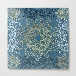 GOLDEN MANDALA ON BLUE Metal Print