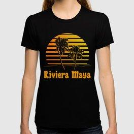 Riviera Maya Mexico Sunset Palm Trees T-shirt