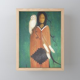 Wise Woman // Native American Woman Shaman Shamanism Owl Spirit Animal Feather Tree Turquoise Indian Framed Mini Art Print