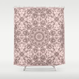 Pink marble kaleidoscope, ornament elements print Shower Curtain