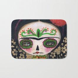 Frida The Catrina And The Devil - Dia De Los Muertos Mixed Media Art Bath Mat