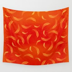 Orange feathers Wall Tapestry