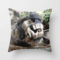 animal skull Throw Pillows featuring Animal Skull by CJ Thornburg