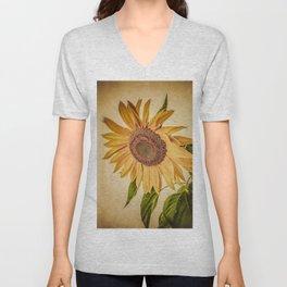 Vintage Sunflower Unisex V-Neck