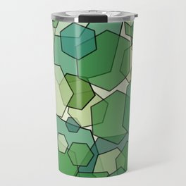 Converging Hexes - Green and Yellow Travel Mug