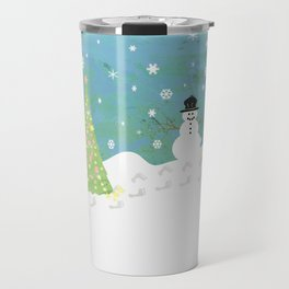 Snowman on Christmas Day Travel Mug