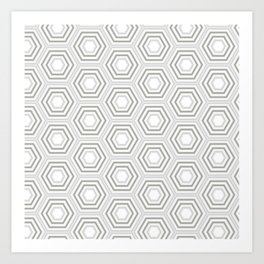 Silver Hexagon Mix Match Pattern Art Print
