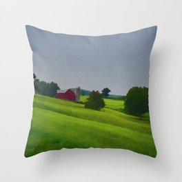 Pure Country Red Barn Art Poster Throw Pillow