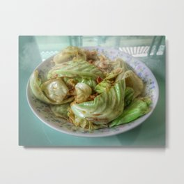Stir-fry homemade organic Cabbage with chili pepper and garlic in oyster sauce. Metal Print