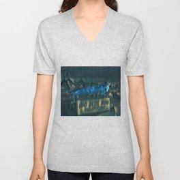 Nibbles Woodaway, Big Blue Bug Termite , Providence, Rhode Island Portrait Unisex V-Neck