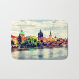 Prague panorama watercolor Bath Mat