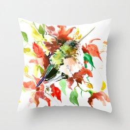 Hummingbird and Red Flowers, bird floral decor Throw Pillow