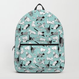 Origami kitten friends // aqua background paper cats Backpack