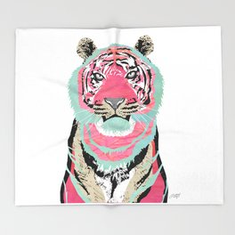 Pink Tiger Collage Throw Blanket