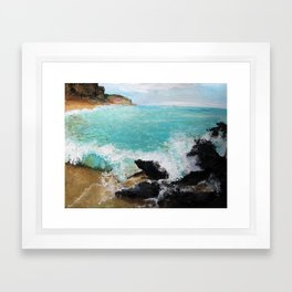 Rocky Blue Sea Framed Art Print