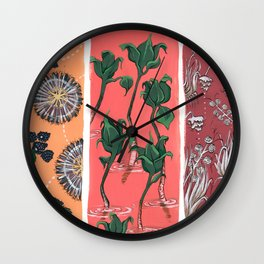 Cool Hues on Warm Background Wall Clock
