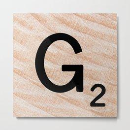 Scrabble Tile - Letter G - Letter Art Metal Print