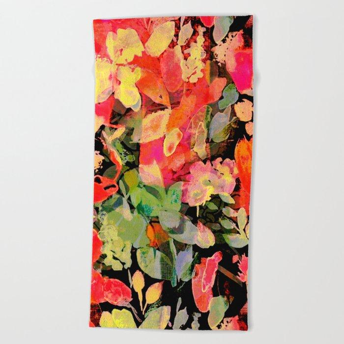 vivid abstract flowers Beach Towel
