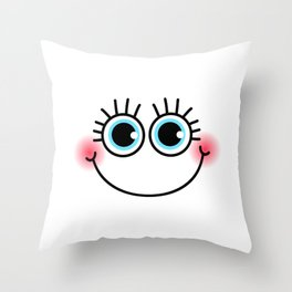 Happy Girlie Face Throw Pillow