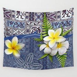Blue Hawaiian Tapa and Plumeria Wall Tapestry