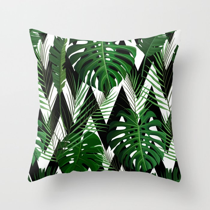 Geometrical Green Black White Tropical Monster Leaves Throw Pillow By Pink Water Society6