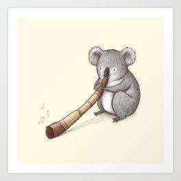 Koala Playing the Didgeridoo Art Print