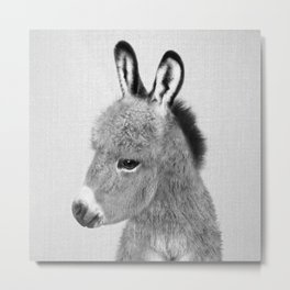 Donkey - Black & White Metal Print