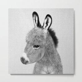 Donkey - Black & White Metal Print