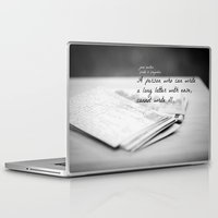 jane austen Laptop & iPad Skins featuring Jane Austen Letter by KimberosePhotography