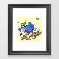 explore (blue) Framed Art Print