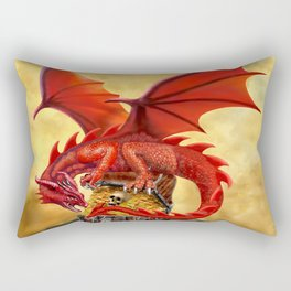 Red Dragon's Treasure Chest Rectangular Pillow