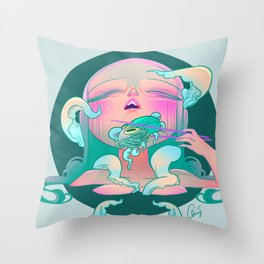 Horror fish Throw Pillow