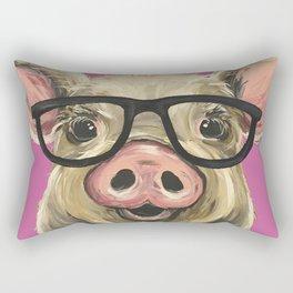 Colorful Pig, Cute Pig Art, Pink Pig Rectangular Pillow