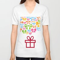 gift card V-neck T-shirts featuring Gift by aleksander1