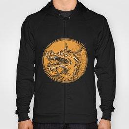 Chinese Dragon Head Circle Etching Hoody